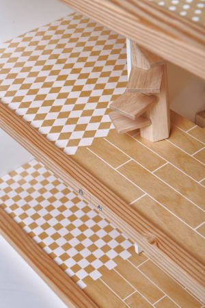 Casuta de papusi din lemn premium, cu etaj, 6 camere2