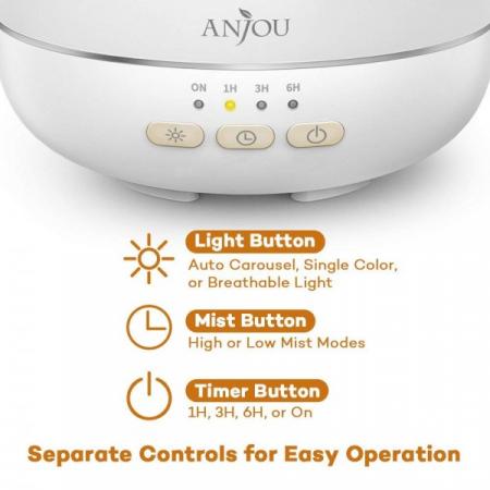 Difuzor aromaterapie Anjou ADA003, 200ml, LED 7 culori5