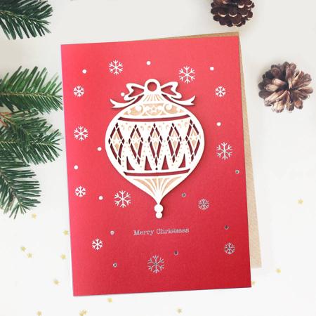 Felicitare de Craciun Ornament din lemn Glob picatura0
