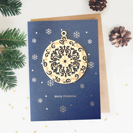 Felicitare de Craciun Ornament din lemn Glob rotund0