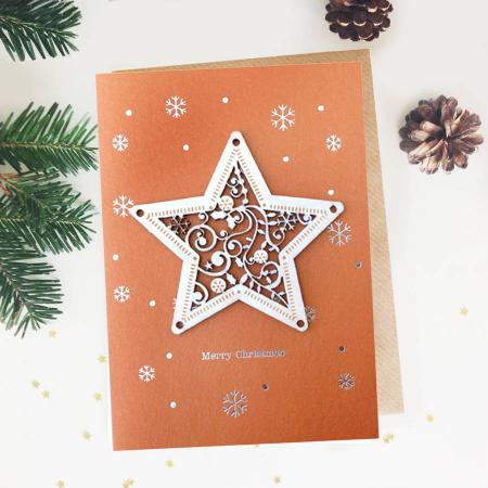 Felicitare de Craciun Ornament din lemn Steaua Sus Rasare0