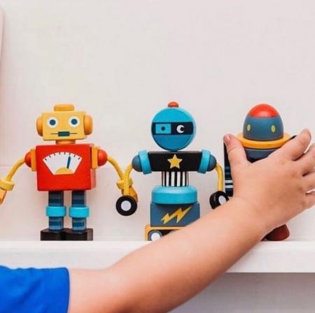 Joc de construit 3 Roboti Retro, lemn premium, 17 piese0