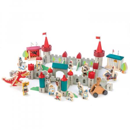 Joc de construit Castelul Royal, lemn premium, 100 piese6