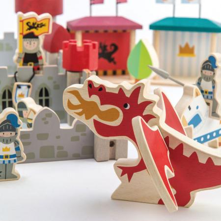 Joc de construit Castelul Royal, lemn premium, 100 piese0