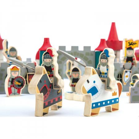Joc de construit Castelul Royal, lemn premium, 100 piese3