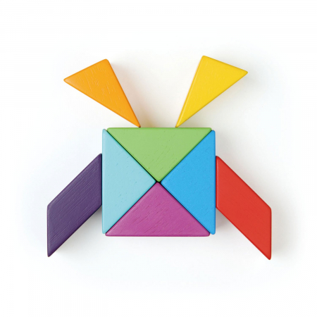 Joc magnetic din lemn Designer Coloristica, 8 piese11