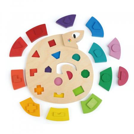 Jucarie din lemn premium Sarpele colorat, puzzle cu 13 piese3
