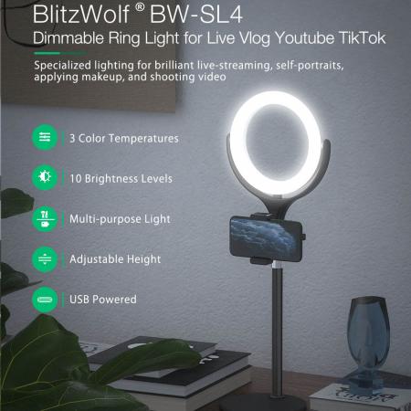 Lampa LED Make-up Profesionala BlitzWof BW-SL4, 64 leduri cu lumina rece/ calda4