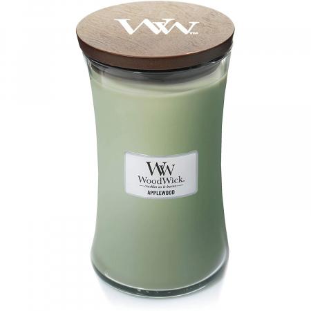 Lumanare parfumata Woodwick applewood Borcan mare2