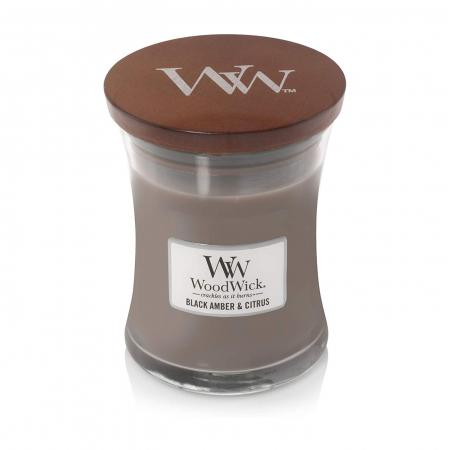 Lumanare parfumata Woodwick black amber citrus Borcan mediu2