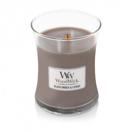 Lumanare parfumata Woodwick black amber citrus Borcan mediu1