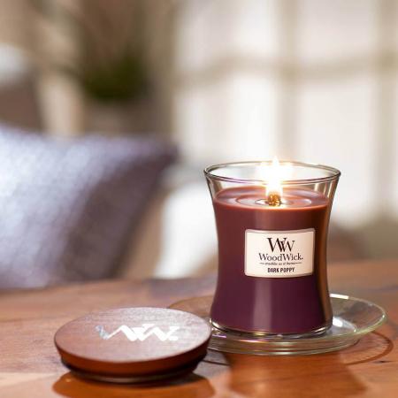 Lumanare parfumata Woodwick dark poppy Borcan mediu0