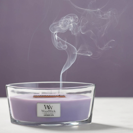 Lumanare parfumata Woodwick ellipse lavender spa0