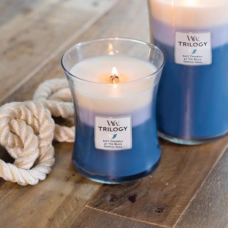 Lumanare parfumata Woodwick trilogy beachfront cottage Borcan mediu0