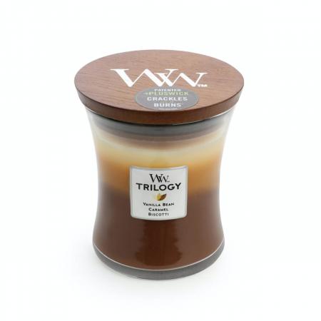 Lumanare parfumata Woodwick trilogy cafe sweets Borcan mediu2