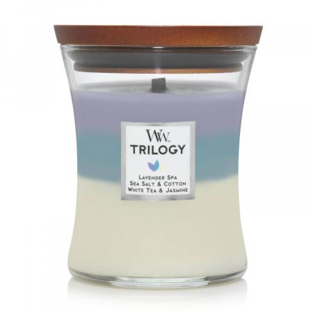 Lumanare parfumata Woodwick trilogy calming retreat Borcan mediu2