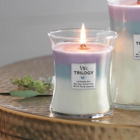 Lumanare parfumata Woodwick trilogy calming retreat Borcan mediu0