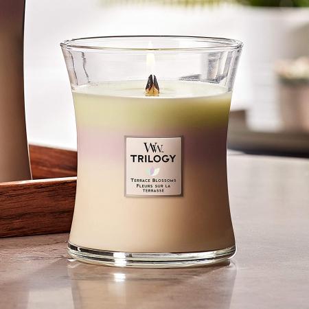 Lumanare parfumata Woodwick trilogy terrace blossoms Borcan mediu0