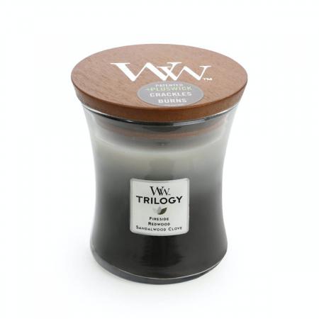 Lumanare parfumata Woodwick trilogy warm woods Borcan mediu2