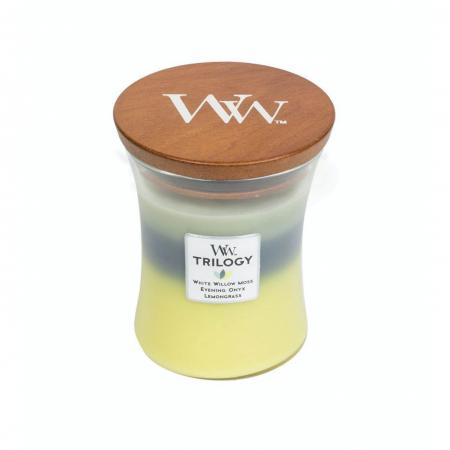 Lumanare parfumata Woodwick trilogy Woodland shade Borcan mediu2