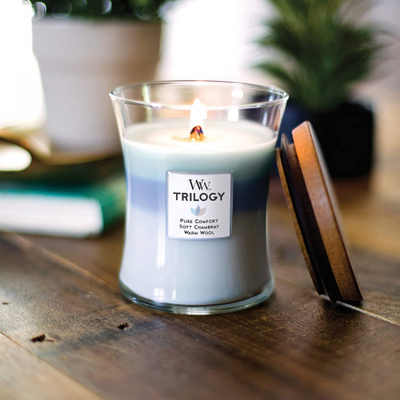 Lumanare parfumata Woodwick trilogy woven comforts Borcan mediu0
