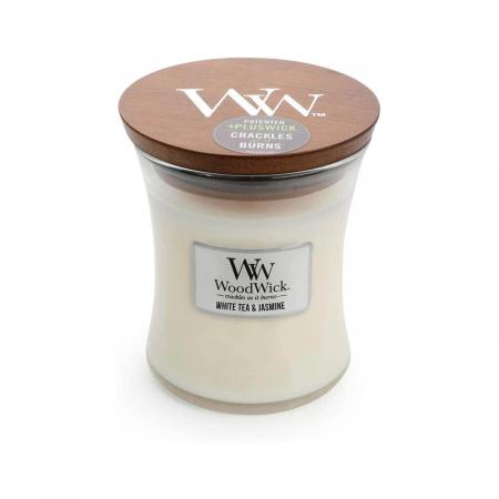 Lumanare parfumata Woodwick white tea jasmine borcan mediu2
