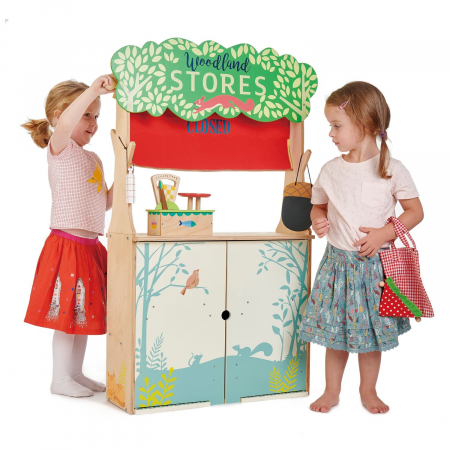 Magazin si teatru de marionete pentru copii, stand din lemn premium4
