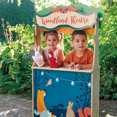 Magazin si teatru de marionete pentru copii, stand din lemn premium1