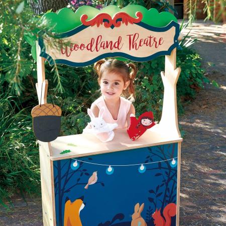 Magazin si teatru de marionete pentru copii, stand din lemn premium3