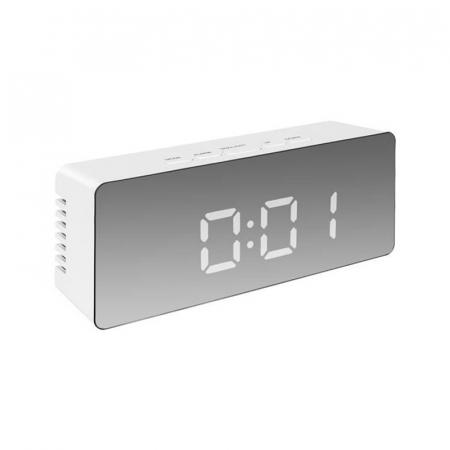 Mini ceas desteptator LED cu termometru si oglinda, dreptunghiular3