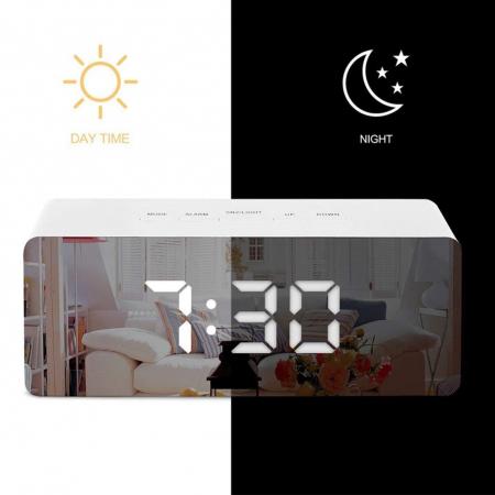 Mini ceas desteptator LED cu termometru si oglinda, dreptunghiular1