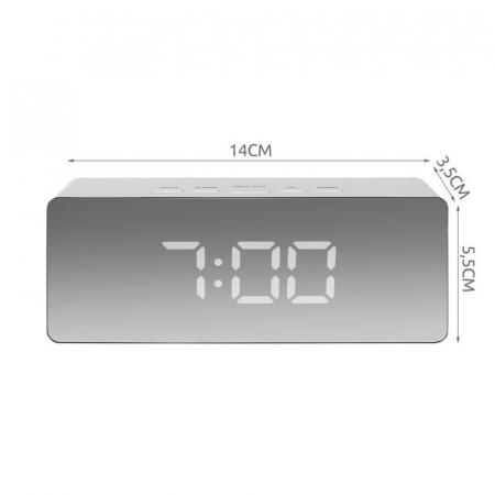 Mini ceas desteptator LED cu termometru si oglinda, dreptunghiular8
