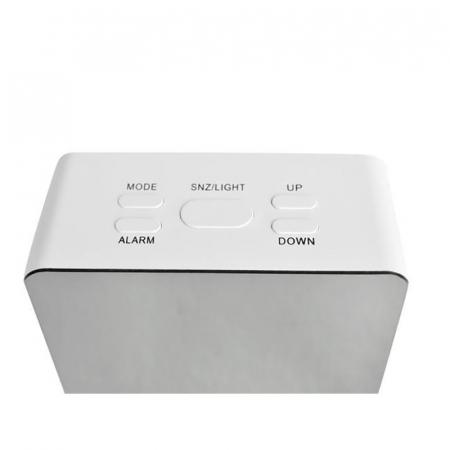 Mini ceas desteptator LED cu termometru si oglinda, patrat3
