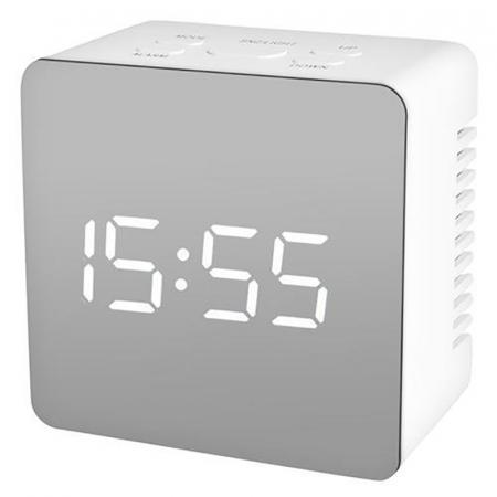Mini ceas desteptator LED cu termometru si oglinda, patrat1