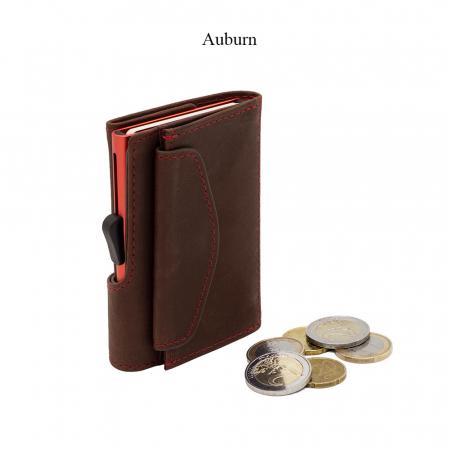 Portofel Carduri RFID din piele cu buzunar de monede0