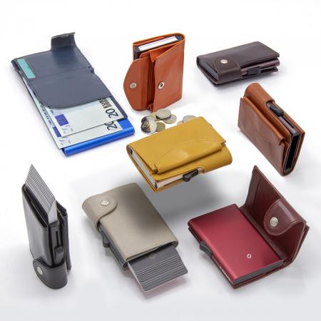 Portofel Carduri RFID XL din piele cu buzunar de monede0