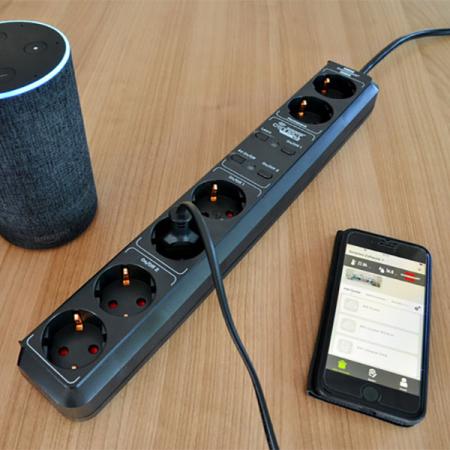 Prelungitor smart, 5 prize, control vocal Alexa sau Google, WIFI, timer0