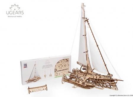 Puzzle 3D Barca Trimaran din lemn Ugears10