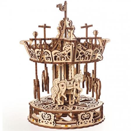 Puzzle 3D Carusel din lemn Ugears2