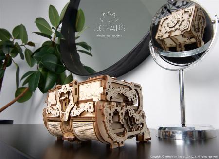 Puzzle 3D Cutie antica de bijuterii Ugears1