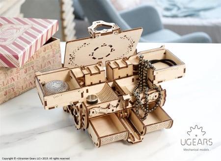 Puzzle 3D Cutie antica de bijuterii Ugears8