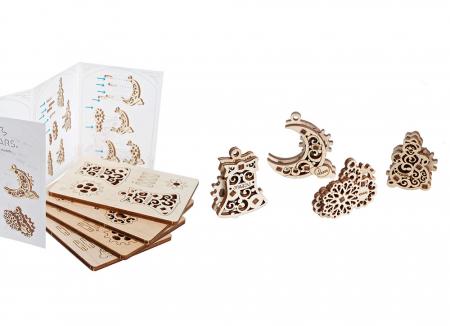 Puzzle 3D Decoratiuni pentru Brad din lemn Ugears5