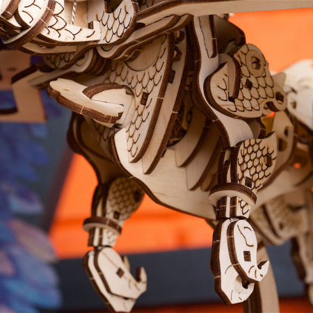 Puzzle 3D Dragonul Furtunii din lemn Ugears [4]