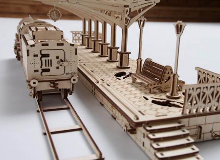 Puzzle 3D Gara din Lemn Ugears [6]
