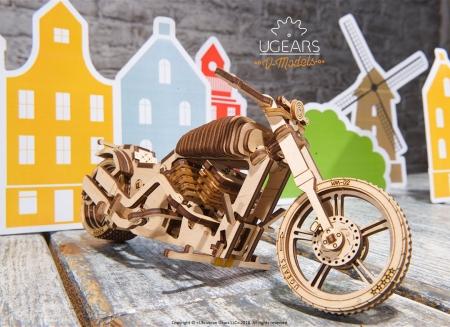 Puzzle 3D Motocicleta VM-02 din lemn Ugears7
