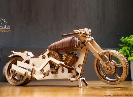 Puzzle 3D Motocicleta VM-02 din lemn Ugears3