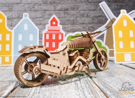 Puzzle 3D Motocicleta VM-02 din lemn Ugears8