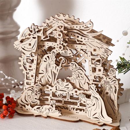 Puzzle 3D Nasterea Domnului, din lemn Ugears0