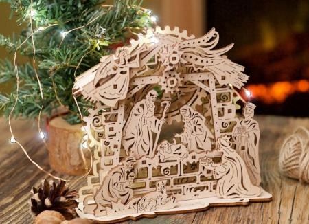 Puzzle 3D Nasterea Domnului, din lemn Ugears2