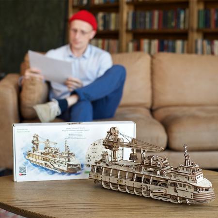 Puzzle 3D Nava de cercetare din lemn Ugears1